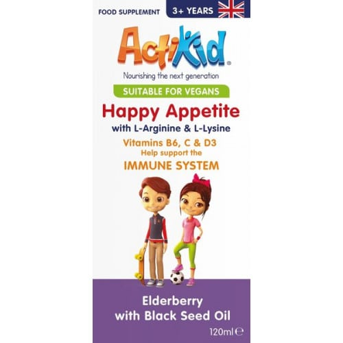 ActiKid - Happy Appetite Immune System, Elderberry with Black Seed Oil - 120 ml.